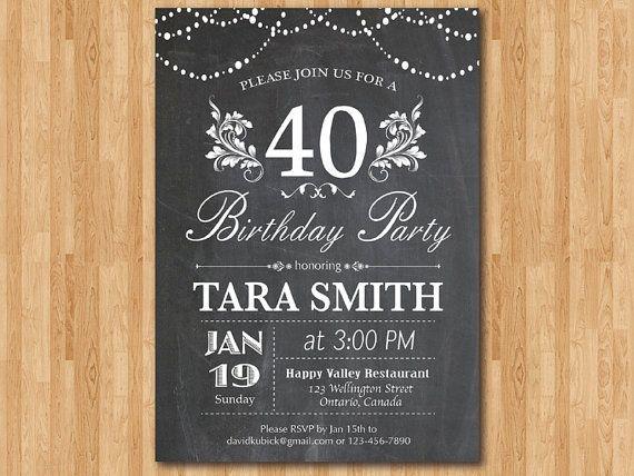 40th Birthday Invitation Chalkboard Surprise By Arthomer On Etsy E Invitations 90th