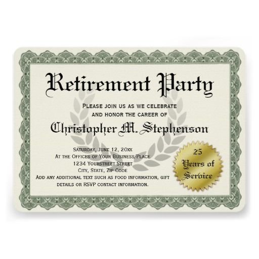 Retirement party invitations cute funny recognition certificate retirement party invitations cute funny recognition certificate custom printed yadclub Image collections