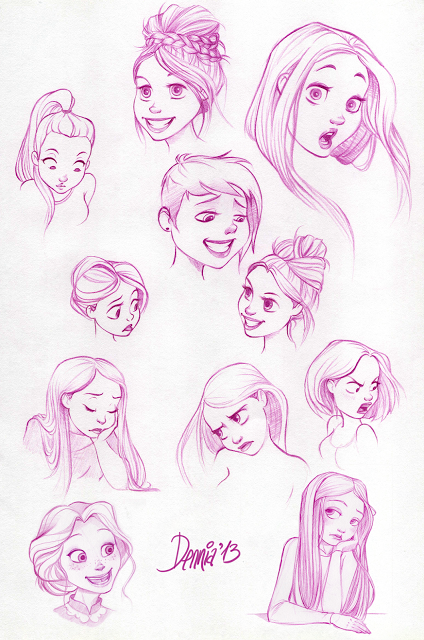 Expressions Croquis Fille Visage Dessin Disney Style Drawing