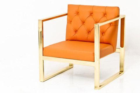 brass kube chair in hermes orange faux leather modshop orange