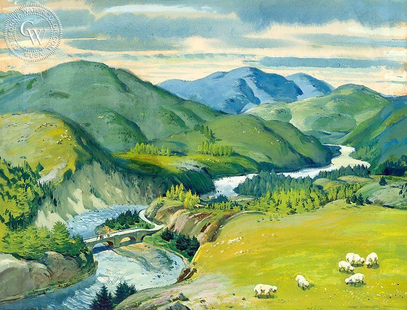 """A California art print on Arches watercolor paper. 100% archival, and printed in HD. """"During my dad's years as an illustrator, he painted this landscape of Scotland that is so beautiful. By the time t"""