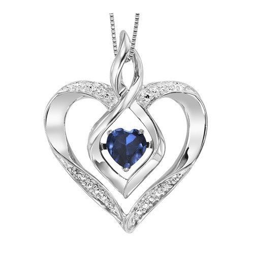 Sterling silver created sapphire and diamond heart shaped necklace sterling silver created sapphire and diamond heart shaped necklace aloadofball Gallery