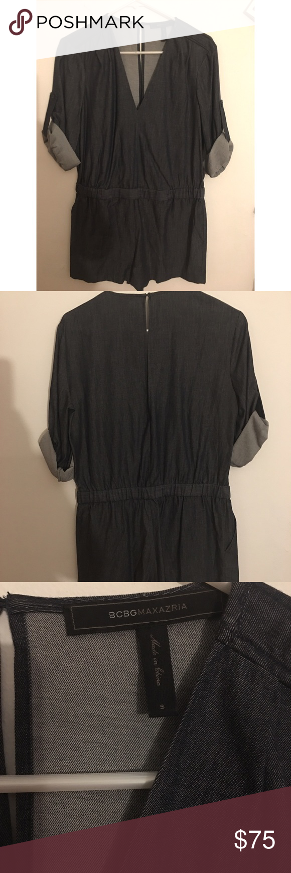 Jean BCBG romper size SMALL Beautiful blue BCBG romper. No stains no pulls worn once. In picture 4 it's just an example of how it fits. Could roll down the sleeve to make it long sleeves. BCBG Other
