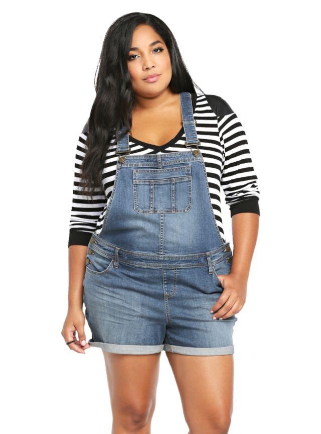 Plus Size Denim Overall Shorts Shortalls ...