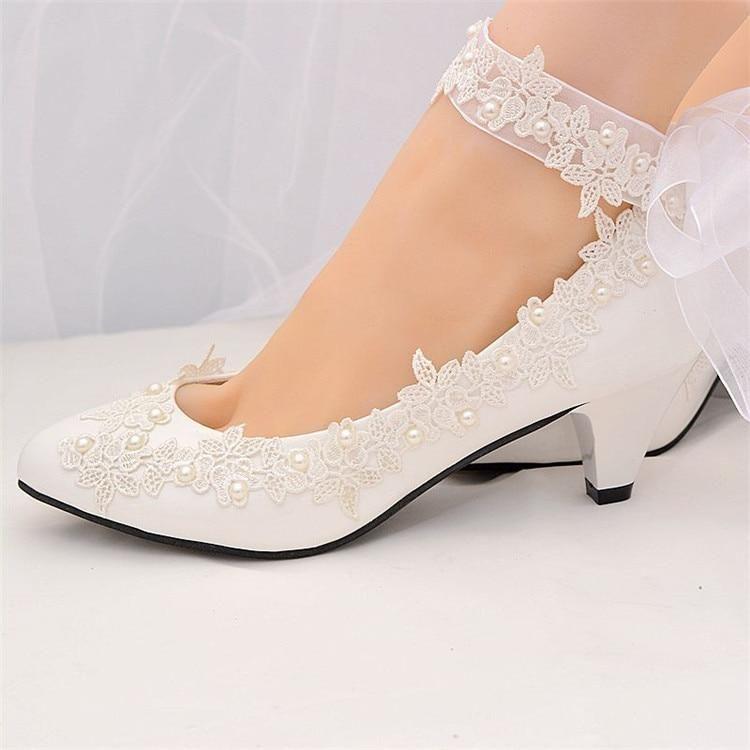 White Pearls High Heels Wedding Pumps | Wedding pumps