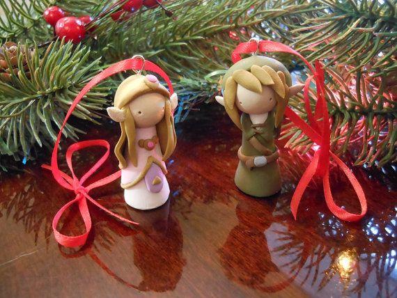 Link Princess Zelda Legend of clay sculpture ornament hang doll