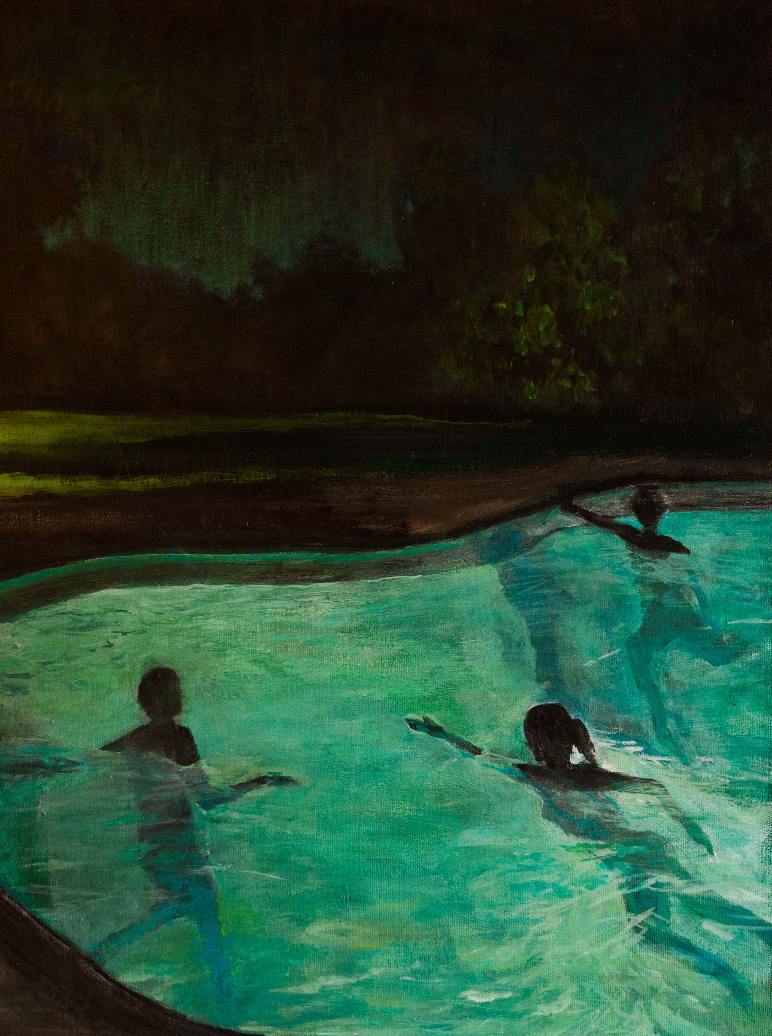 Night swimming and other nocturnal pleasures paintings for Swimming pool sketch