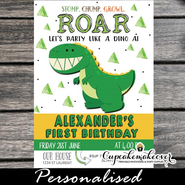 Little Dinosaur First Birthday Invitations Cupcakemakeover Dinosaur First Birthday First Birthday Invitations Boy Birthday Invitations