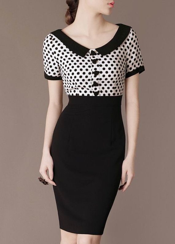 2f5ae1ce2e7 Vintage Chic Polka Dot Dress Black Patchwork Elegant Gorgeous Formal Dress  Ladies Perfect Curved Dress XXXL available