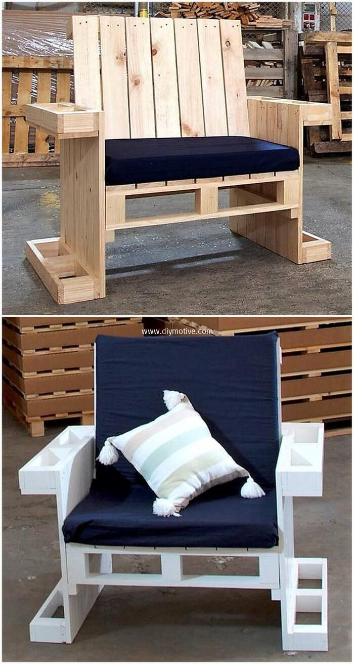 This wood pallet arm couch seat is smartly designed for providing