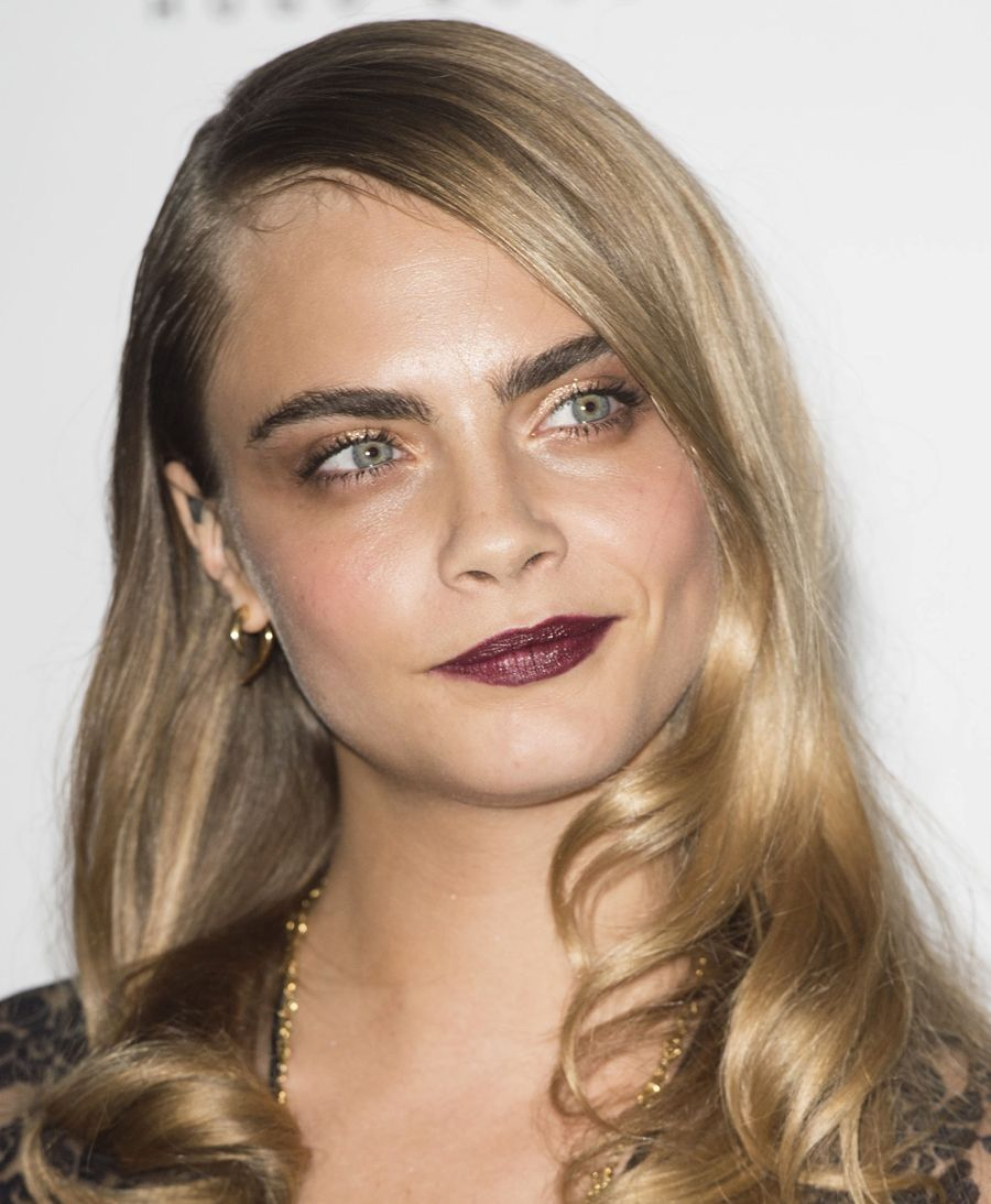 Trending Lipstick Color: Vampy Deep Berry Lips. Fashion Model Cara ...