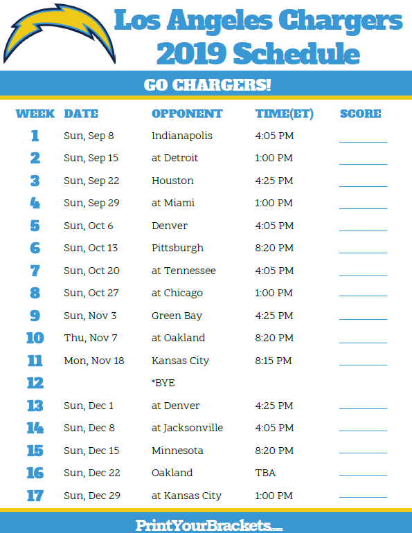 picture regarding Printable Nfl Schedules known as Printable Los Angeles Chargers Agenda - 2019 Time