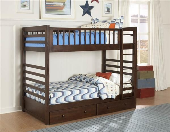Dreamland Classic Rich Cherry Wood Twin Twin Bunk Bed W Storage