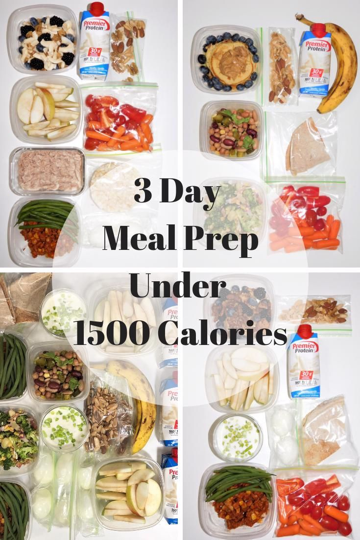 3 Day Meal Prep Under 1500 Calories in 2020   1500 calorie ...