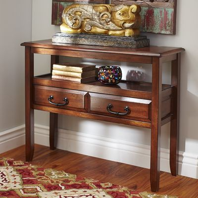 Delightful Anywhere Tuscan Brown Console Table With Pull Handles