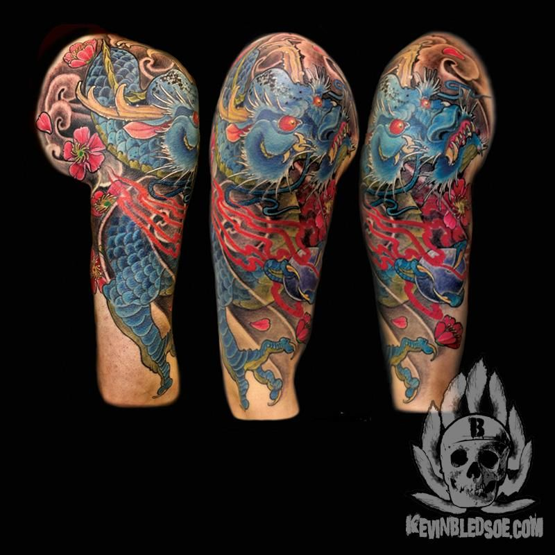 Colorful Japanese Dragon Upper Arm Half Sleeve Tattoo By Kevin Bledsoe See More At Www Kevinbledsoe Co Dragon Sleeve Tattoos Sleeve Tattoos Arm Sleeve Tattoos
