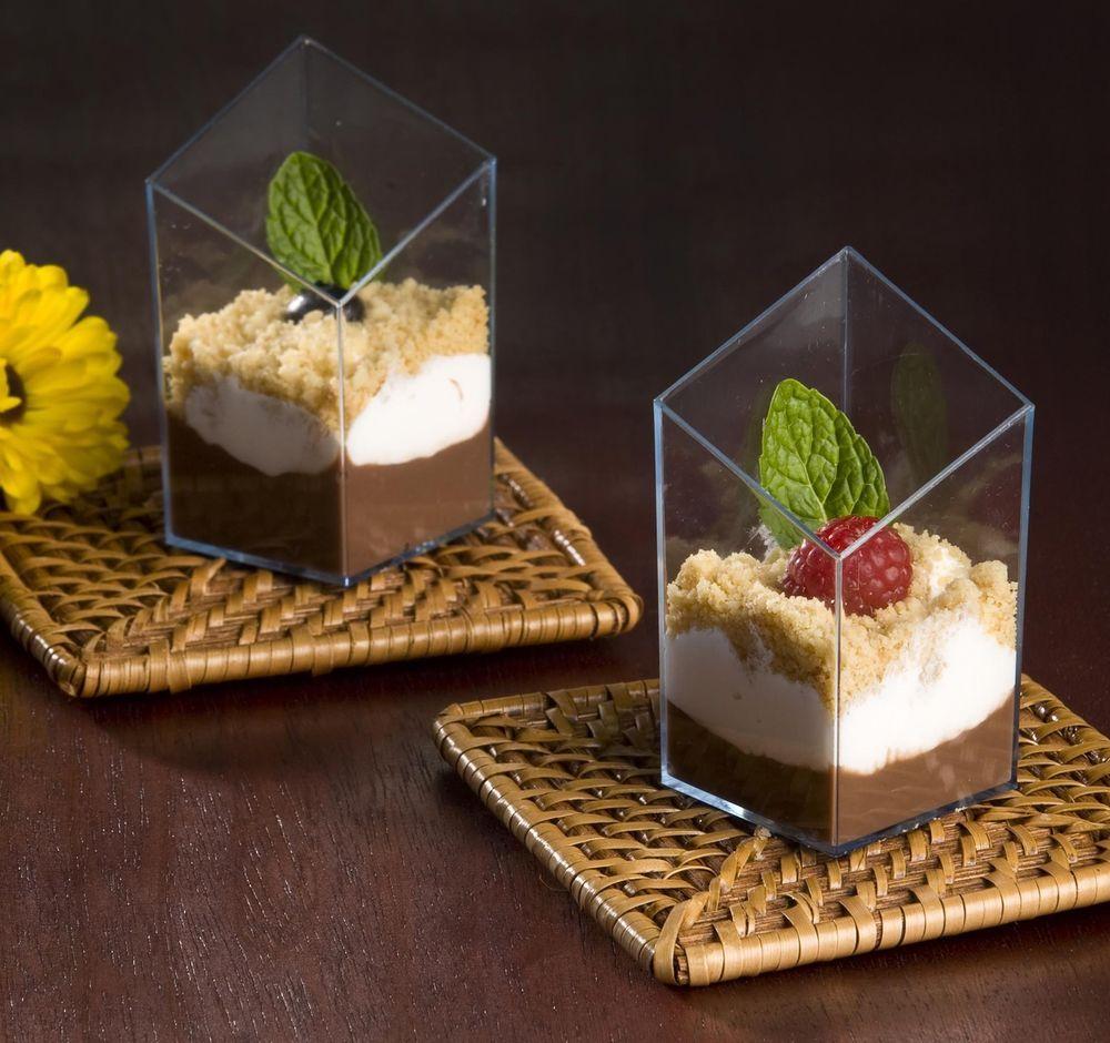 2.5 Oz Diamond Cube Plastic Mini Shot Glass / Dessert Cup