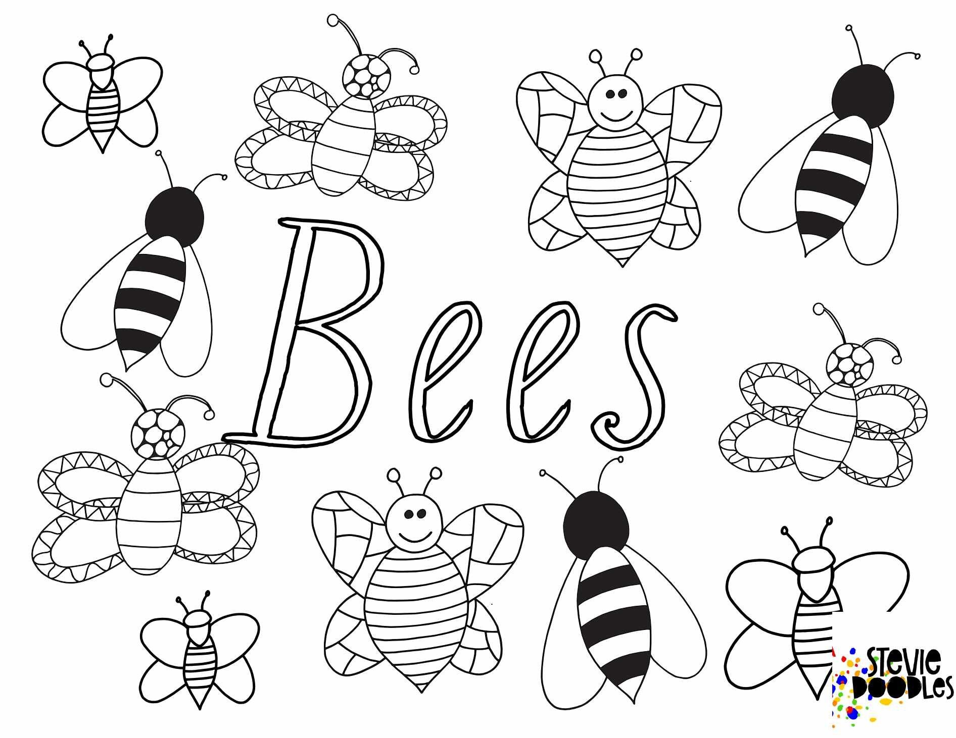 Bees Free Printable Coloring Page Stevie Doodles Bee Coloring Pages Free Printable Coloring Pages Free Kids Coloring Pages