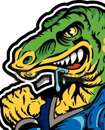 Clipart Vector of dinosaur football player - muscular