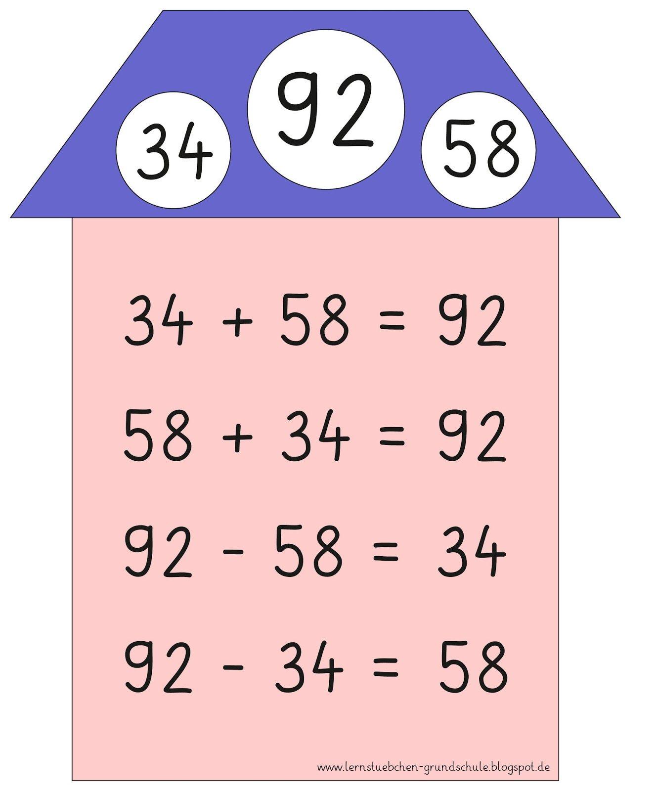 Lernstübchen: Aufgabenfamilien (3) | Mathe Klasse 2 | Pinterest ...