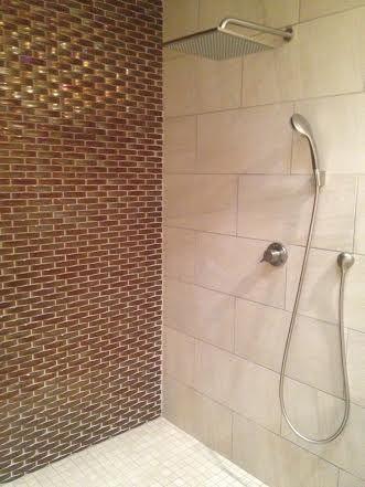 Our Palm Desert Master Bathroom Details Wall Tile Oceanside Gl 1 25x5 Mini Extrados Harvest Irid 12x24 Lifestyle Beige Shower Aquabr 8102 16