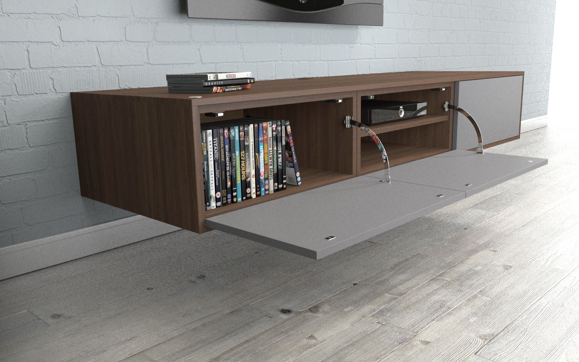 Wood Veneer TV Unit With Drop Down Storage For DVDs And AV Equipment. Made  By