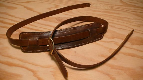 Items Similar To Vintage Style Cotton Webbing And Leather Guitar Strap On Etsy Leather Guitar Straps Guitar Strap Leather Card Wallet
