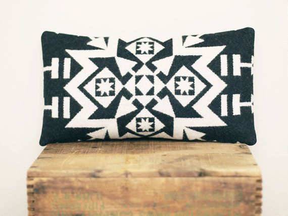 Pendleton Wool Pillow // Geometric Black and by ScoutandWhistle, $45.00