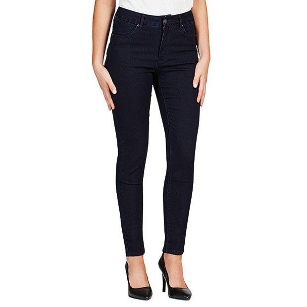 Dannii minogue petites dark indigo high waisted skinny jeans travel outfit inspo skinny for Travel pants petite
