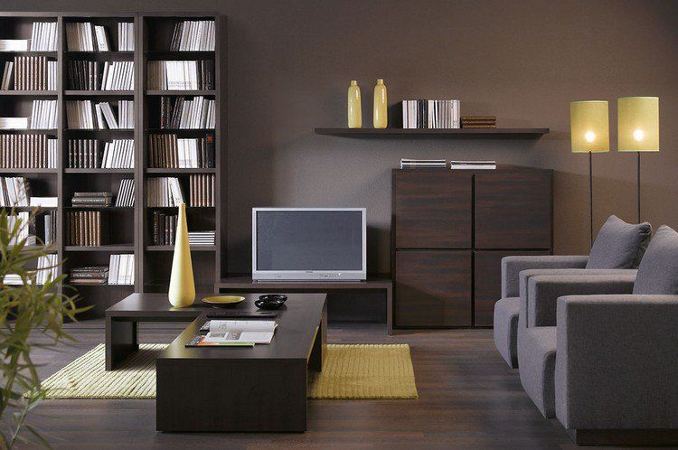 taupe wall color wenge colored living room furniture and yellow accents