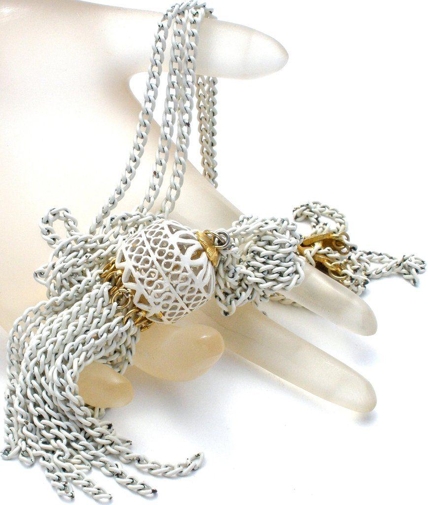 Monet White Enamel Tassel Necklace Vintage