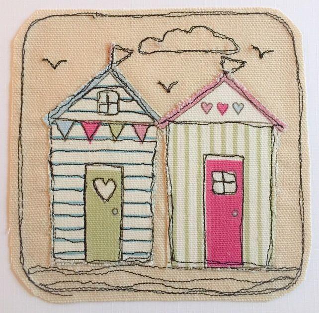 Beach Hut Machine Embroidery Design: Freehand Machine Embroidery