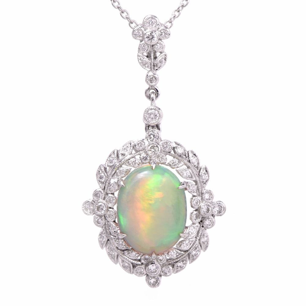 Antique Style Opal Diamond 18k Gold Pendant Necklace Item # PLJUN17-19