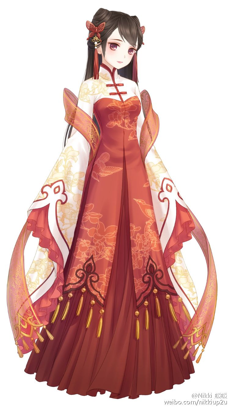 Red long chinese dress anime