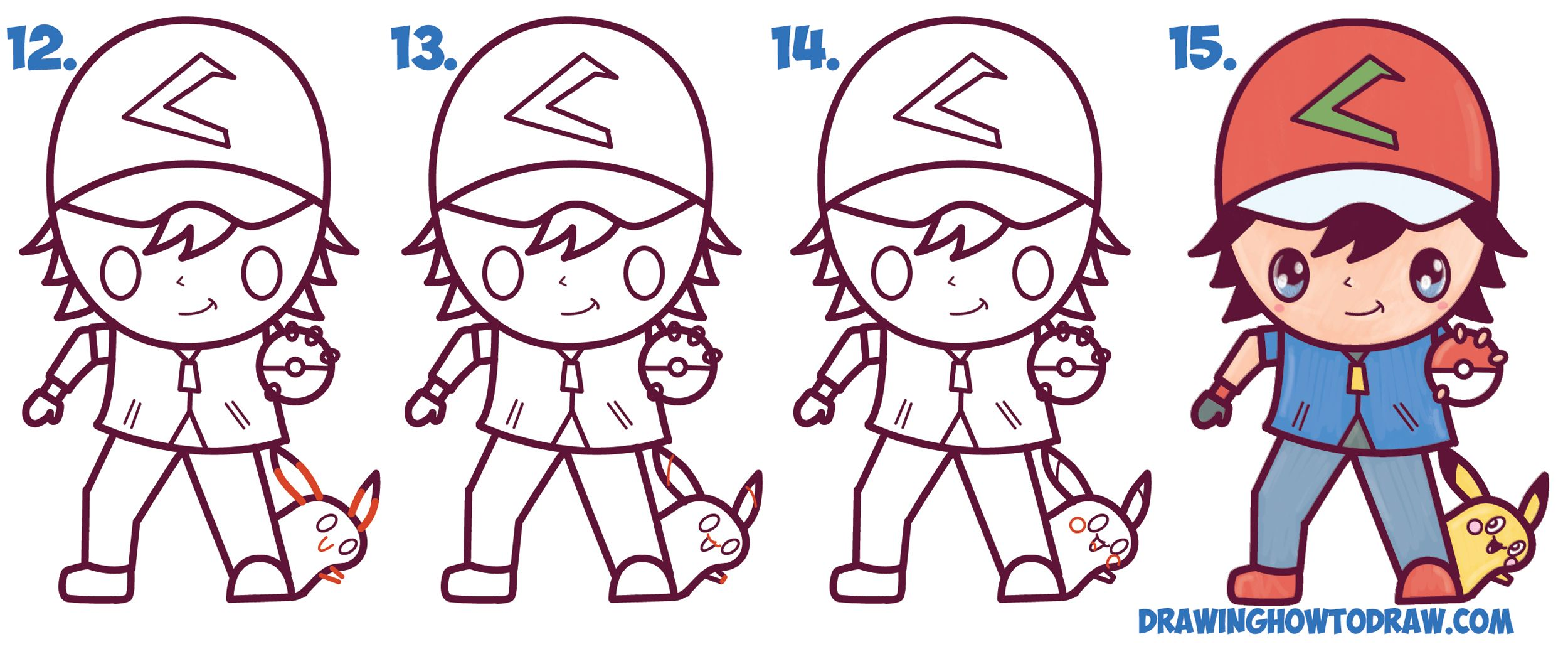 Uncategorized How To Draw Ash From Pokemon learn how to draw cute kawaii chibi ash ketchum and pikachu from pokemon simple steps drawing