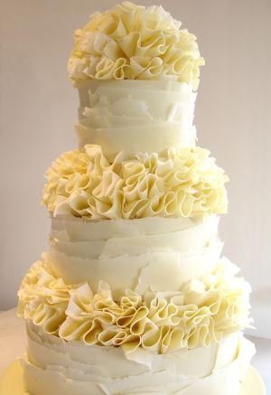 White chocolate ruffles wedding cake