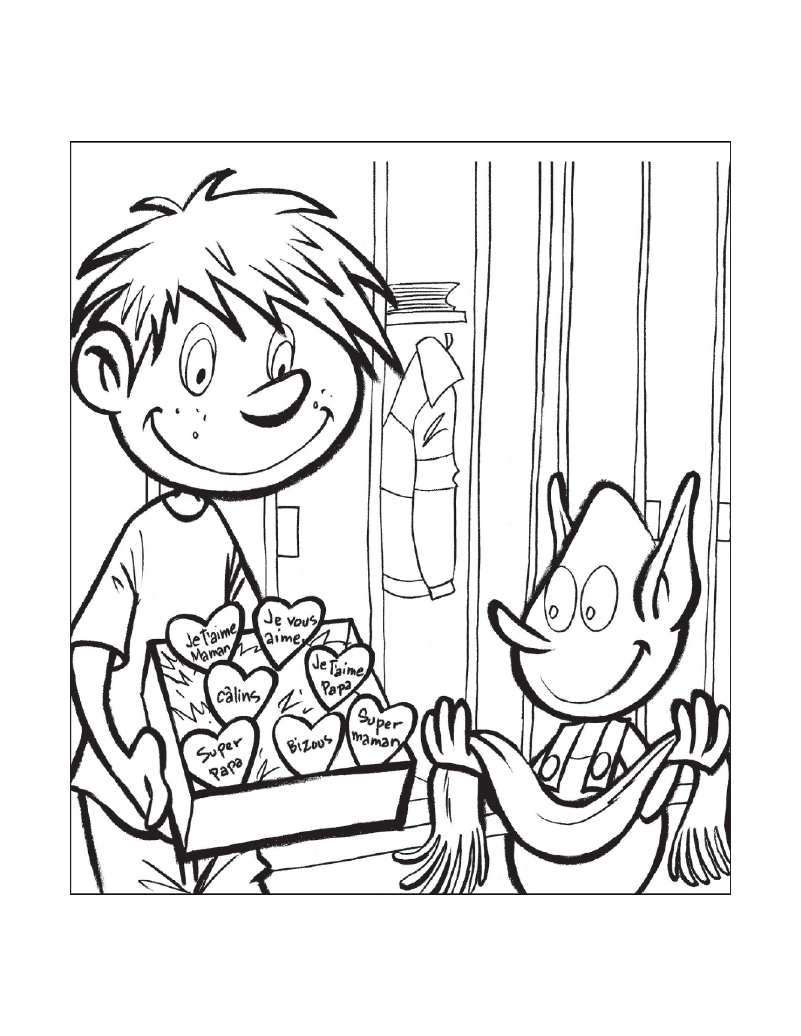 Dessin  colorier de Sam et Bloup Sécurité en autobus scolaire