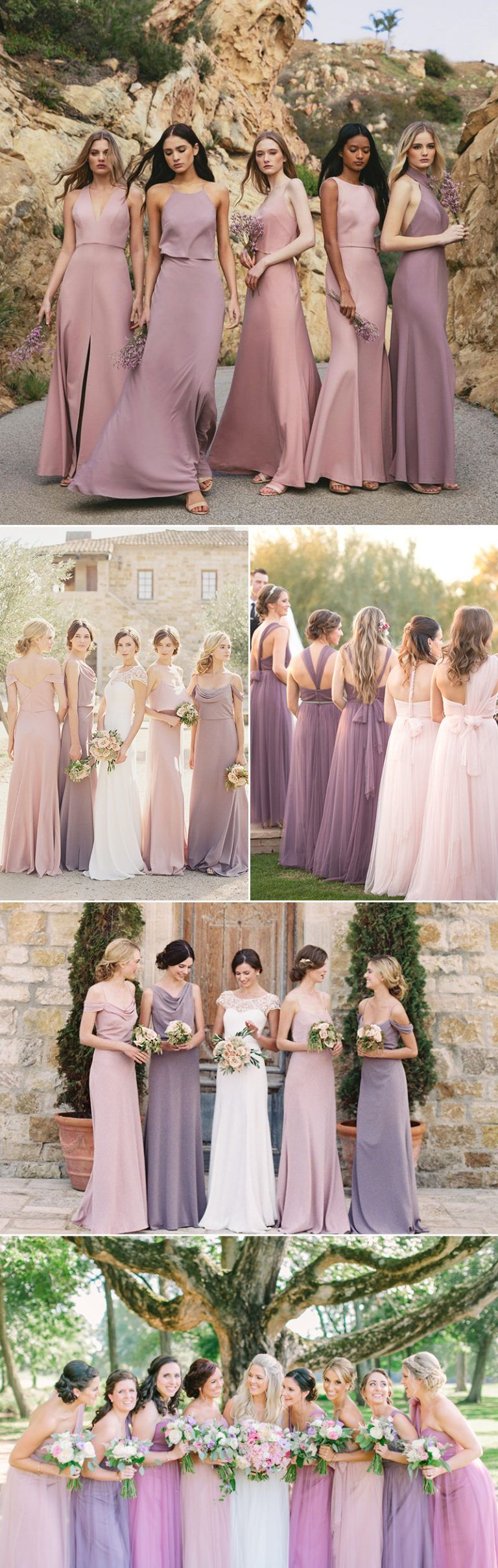 Top 5 Bridesmaid Dress Color Combinations For Spring And Summer Weddings Featuring Unique Mismatched Looks Wedding Strapless Bridesmaid Dress Colors Bridesmaid Dresses Mismatched Purple [ 2417 x 768 Pixel ]