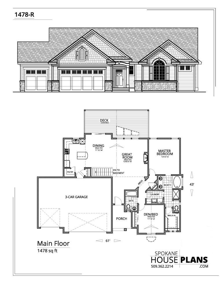 1478 R New House Plans House Blueprints Bungalow House Design