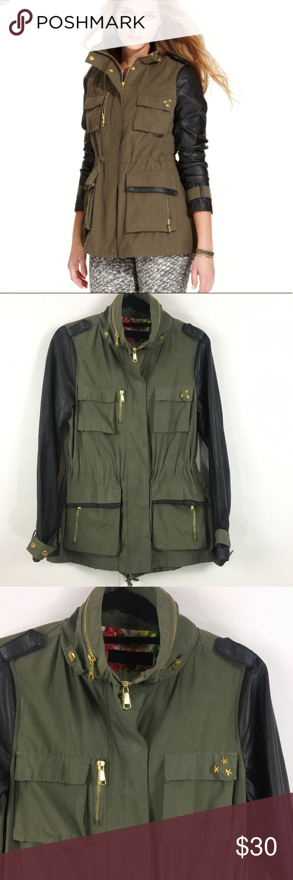 c41e2126f0ad2 Steve Madden Anorak green jacket faux leather M Adorable Steve Madden  utility style windbreaker or lightweight jacket with fun faux leather  sleeves and a ...
