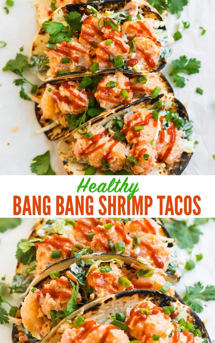 A healthy version of the famous Bonefish Grill Bang Bang Shrimp Tacos topped with slaw and bang bang sauce. Sauting instead of frying makes these skinny tacos perfect for easy and delicious dinners! Gluten free. #wellplated #bangbangshrimp #tacos via @wellplated #shrimptacorecipes