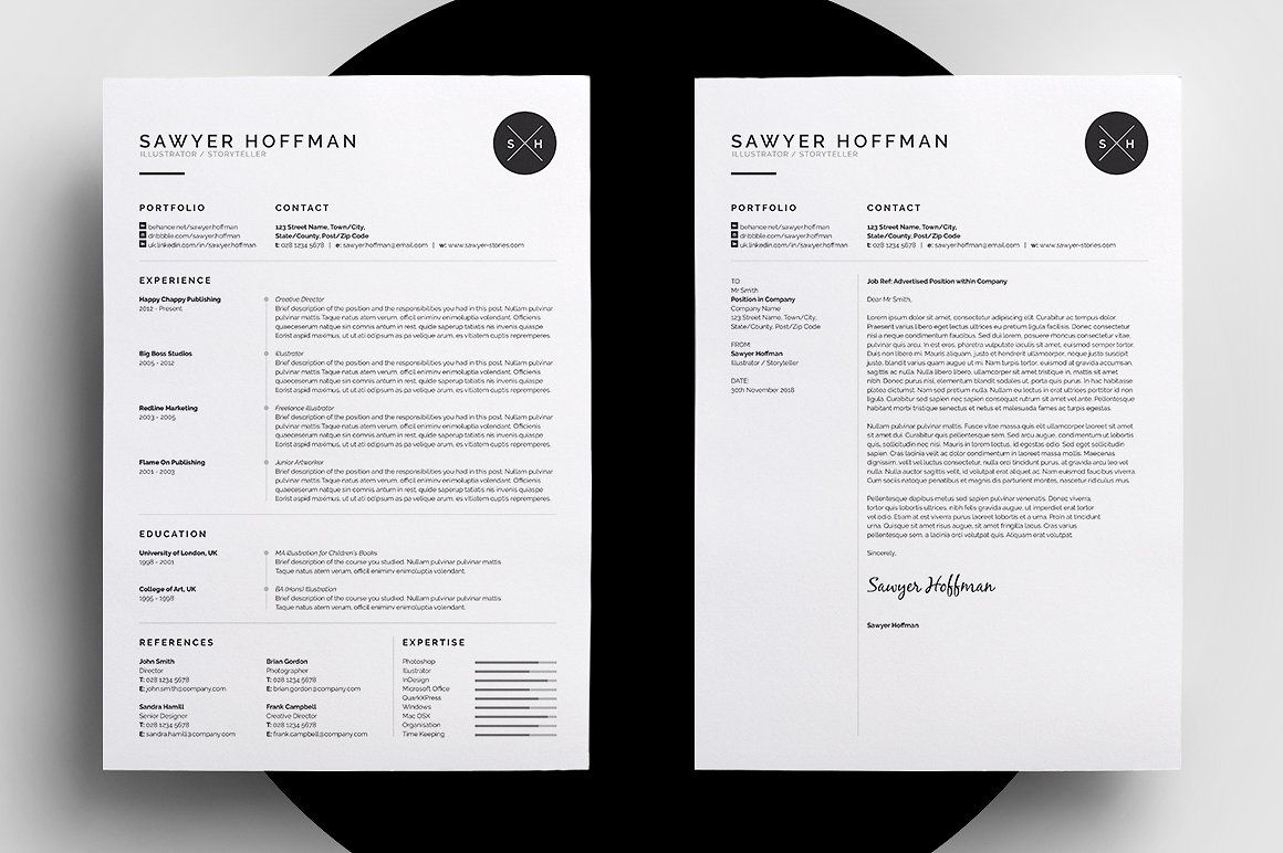 resume cv sawyer words cover letters and letters how to create a professional resume cv and cover letter template easy to edit