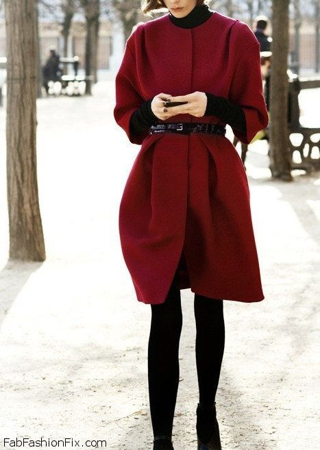 Burgundy red coat with leather belt for elegant winter outfit ...