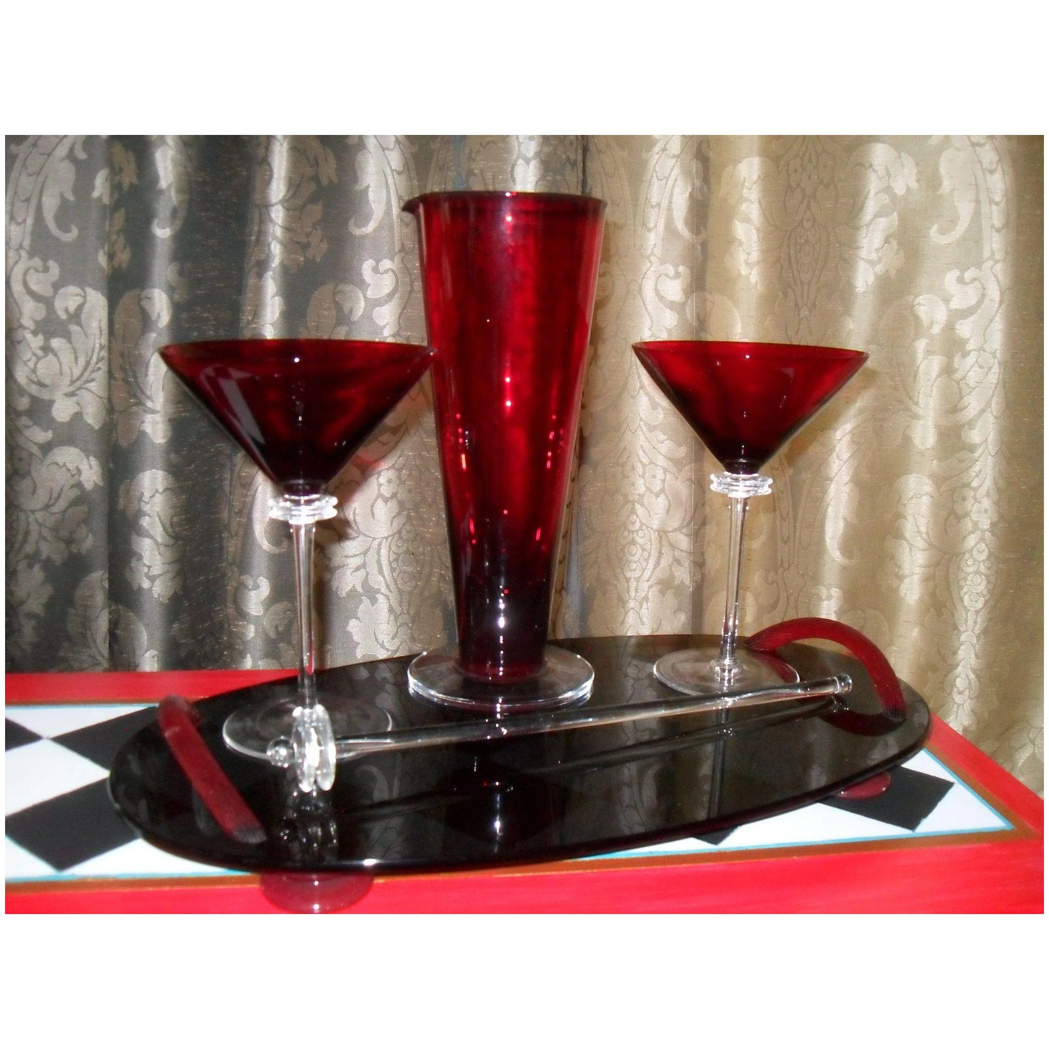Union Street Glass 2002 El Roi Martini Set In 2020 Martini Set Glass Vintage Wine Glasses