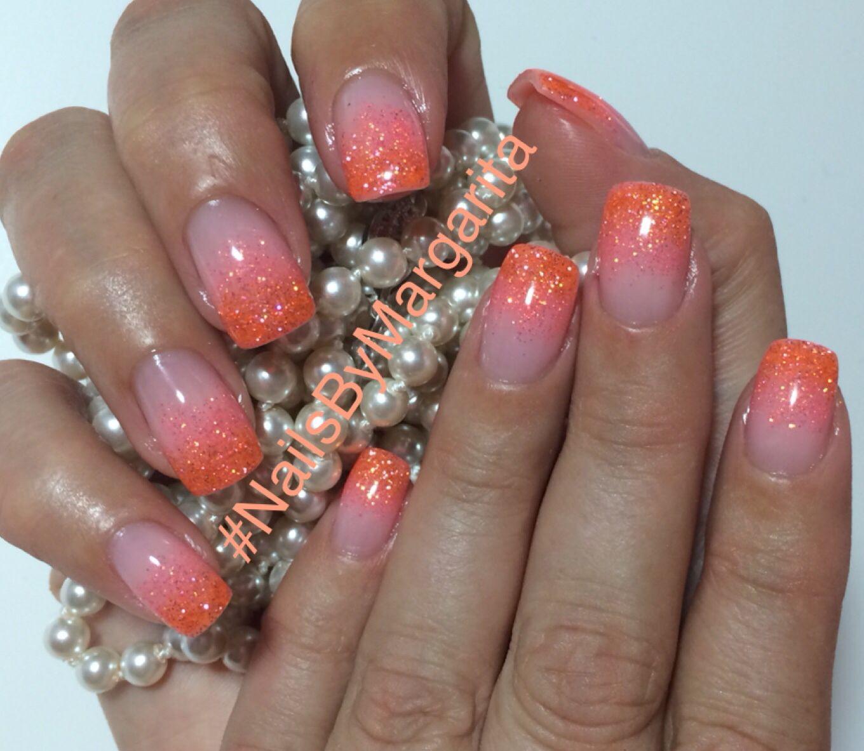 Coral and Orange Glitter Ombré Nails Gel Nail Design #ByMargarita ...