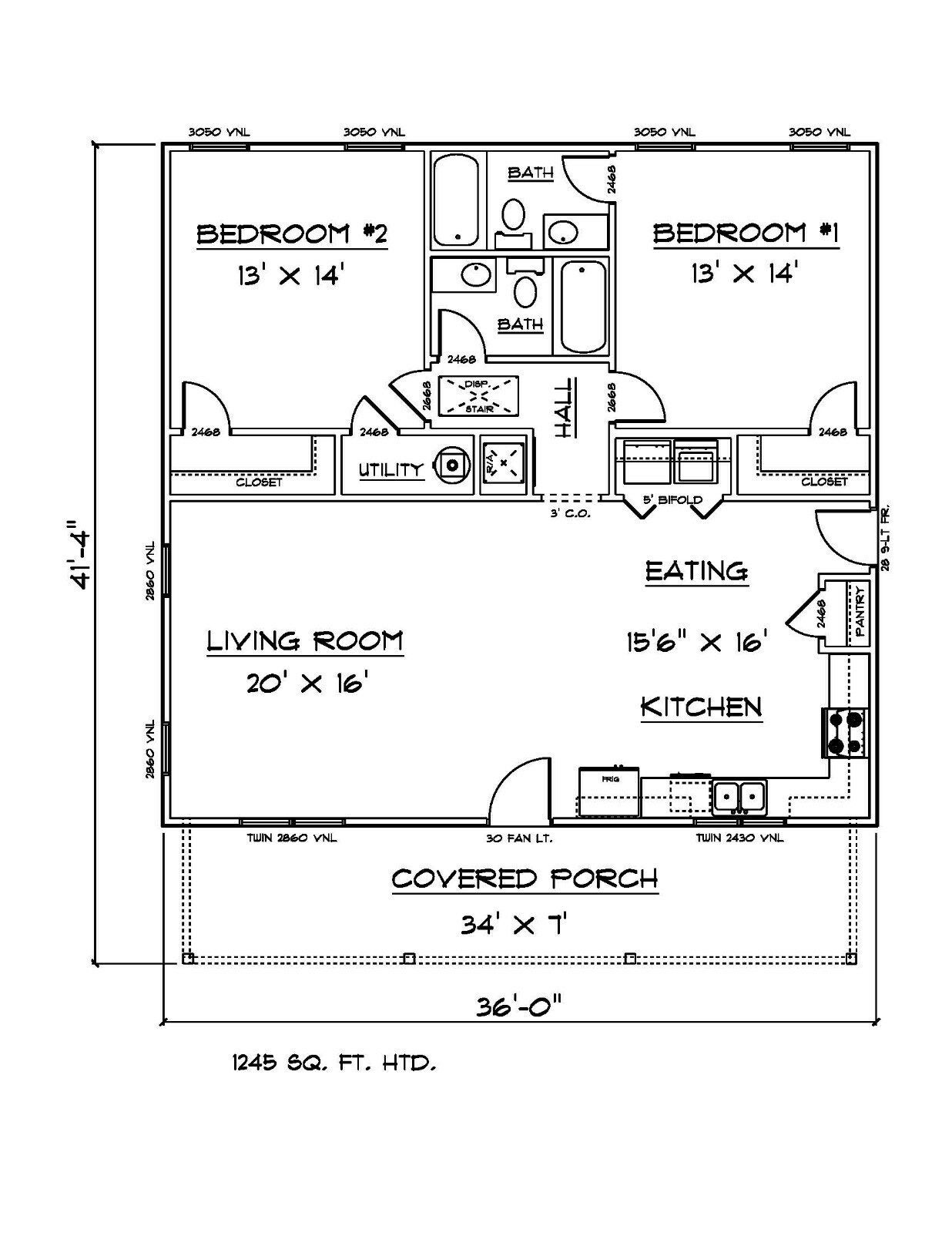 House Plans For 1245 Sq Ft 2 Bedroom 2 Bath House 40 00 Please Note An Email Address Is Requ Two Bedroom House House Plan With Loft Building Plans House