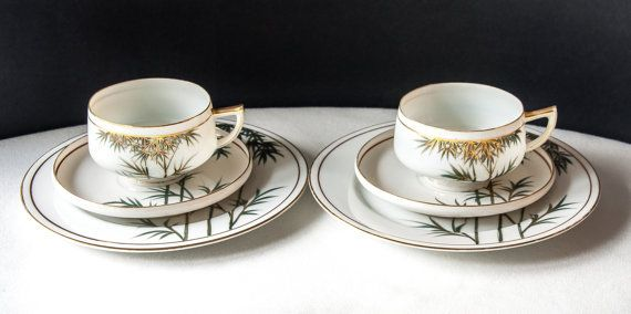 KUTANI Tea Cup SETS 2   TRIO of Cup Saucer and by AnneTweekes