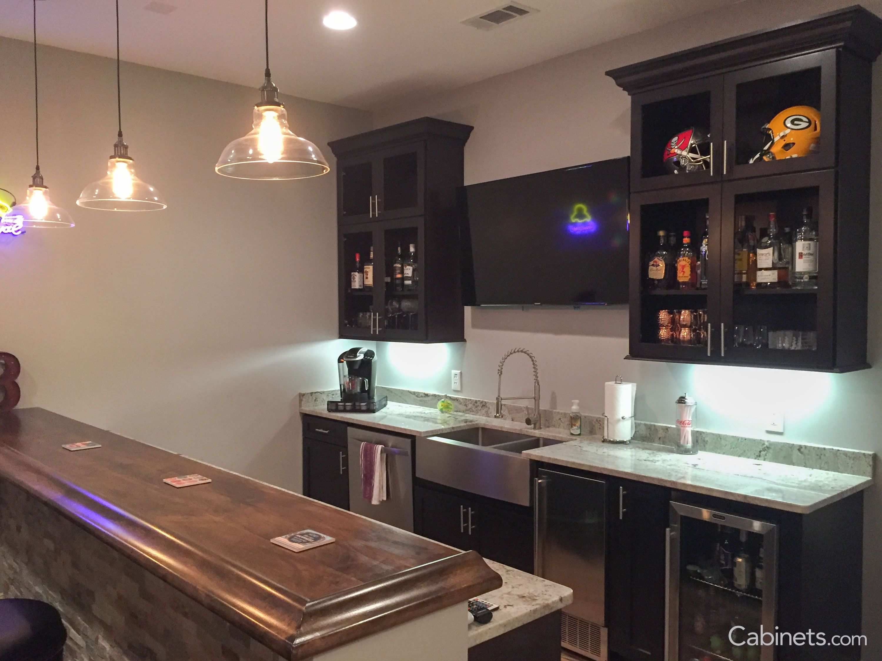 This home bar features our Colonial II Maple Espresso Cabinets ...