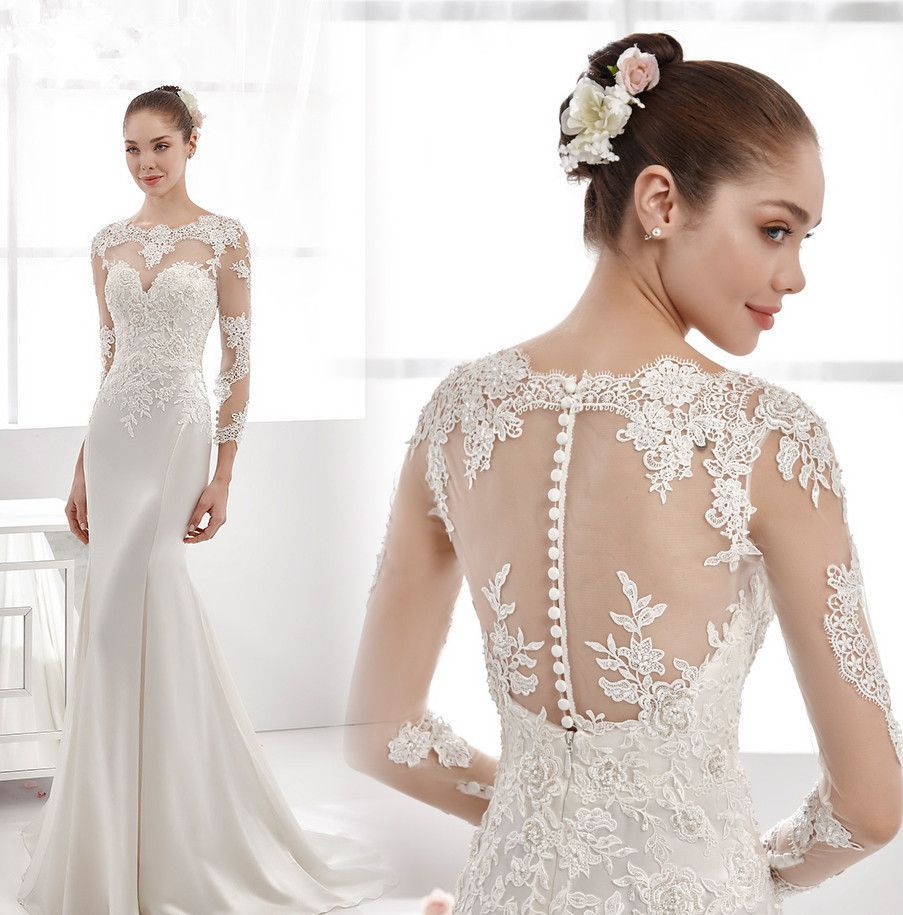 O-neck Long Sleeves Court Train Lace Satin Mermaid Bride Dress ...