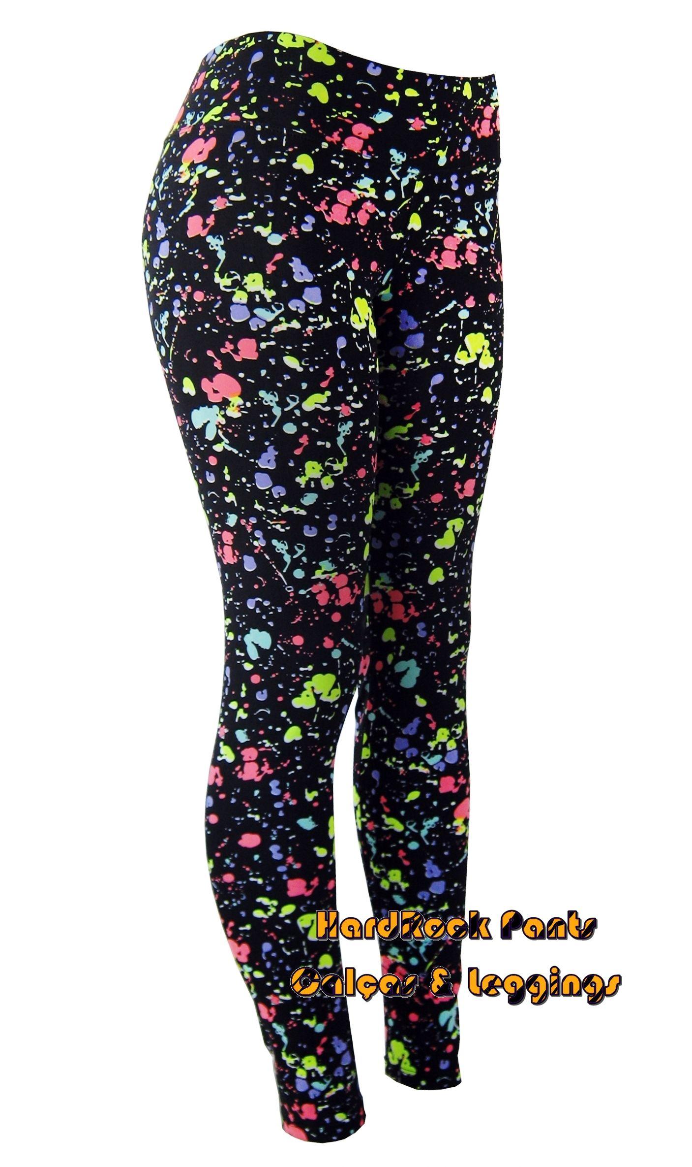 ca44628df Calça Legging Suplex Cintura Alta Pingos de Tinta - Neon  calça  legging…